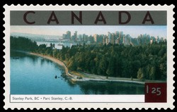 Stanley Park, British Columbia Canada Postage Stamp | Tourist Attractions