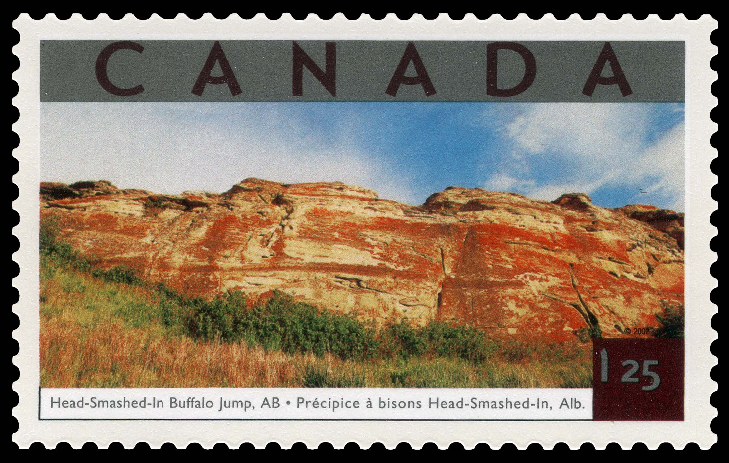 Head-Smashed-In Buffalo Jump, Alberta Canada Postage Stamp | Tourist Attractions