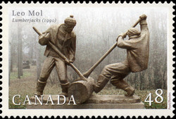 Leo Mol, Lumberjacks, 1990 Canada Postage Stamp | Sculptors
