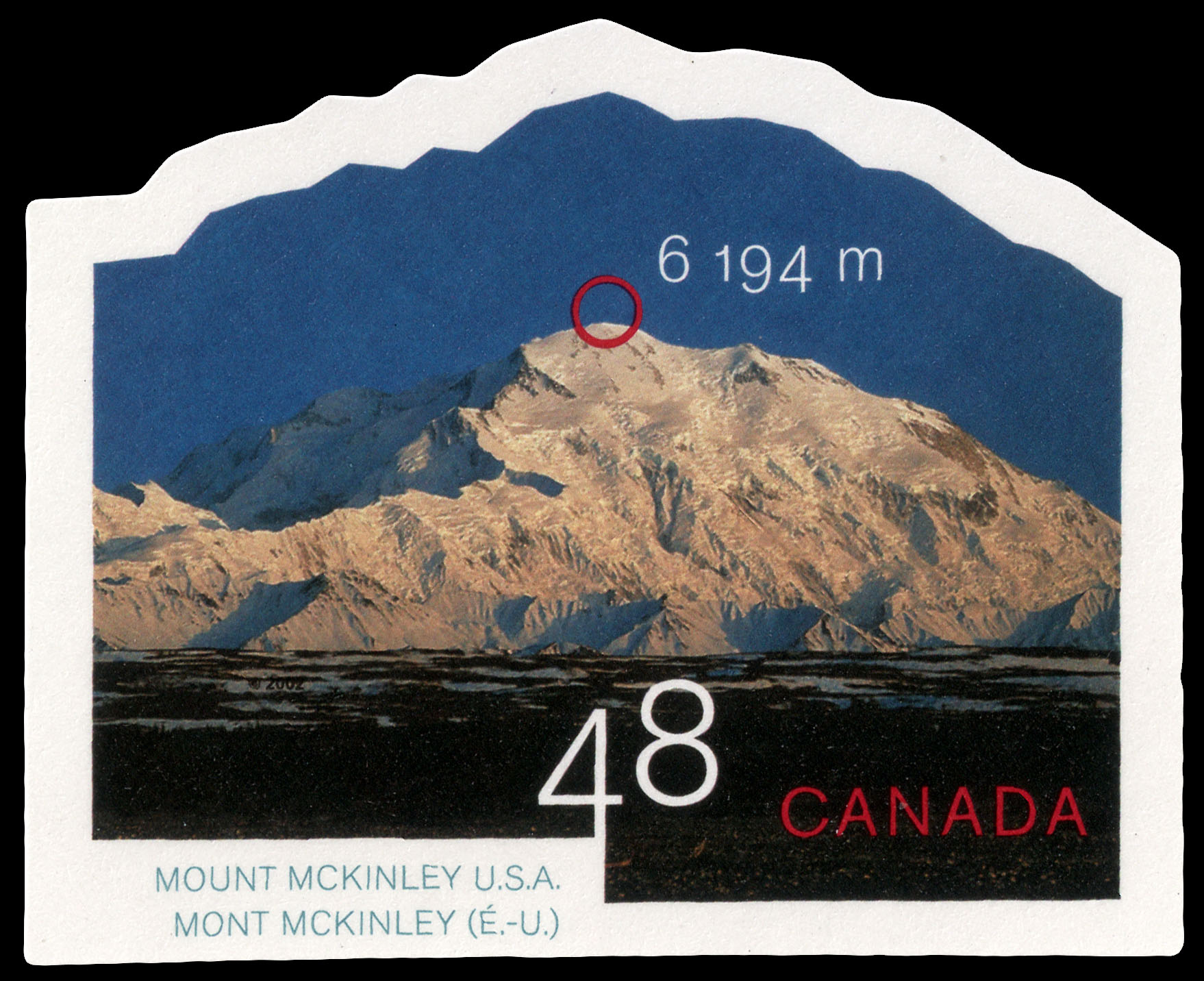 Mount McKinley, United States, 6,194 m Canada Postage Stamp | Mountains