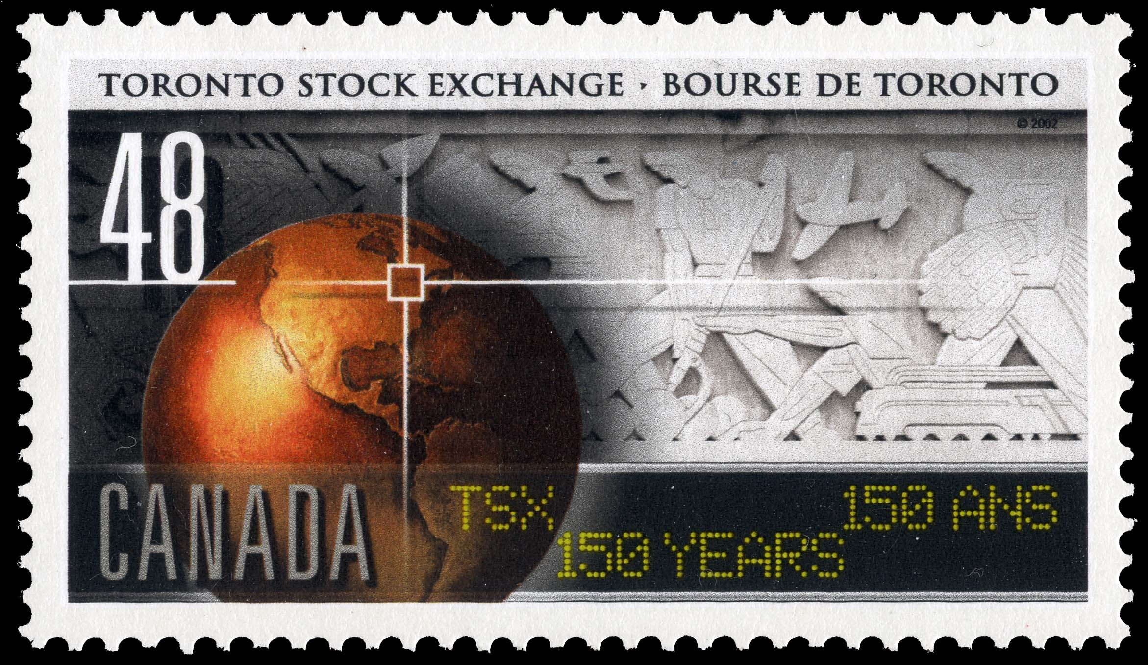 Toronto Stock Exchange, TSX, 150 Years Canada Postage Stamp