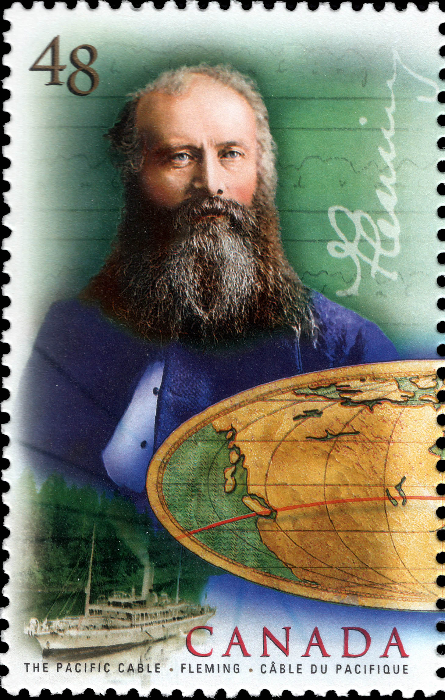 The Pacific Cable, Fleming Canada Postage Stamp | Communication Technology