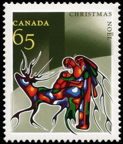 Winter Travel Canada Postage Stamp | Christmas, Aboriginal Art