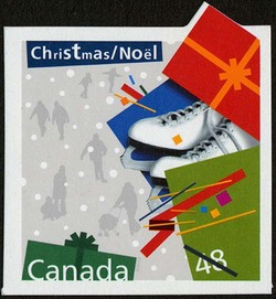 Skates - Christmas Present Canada Postage Stamp | Christmas Presents