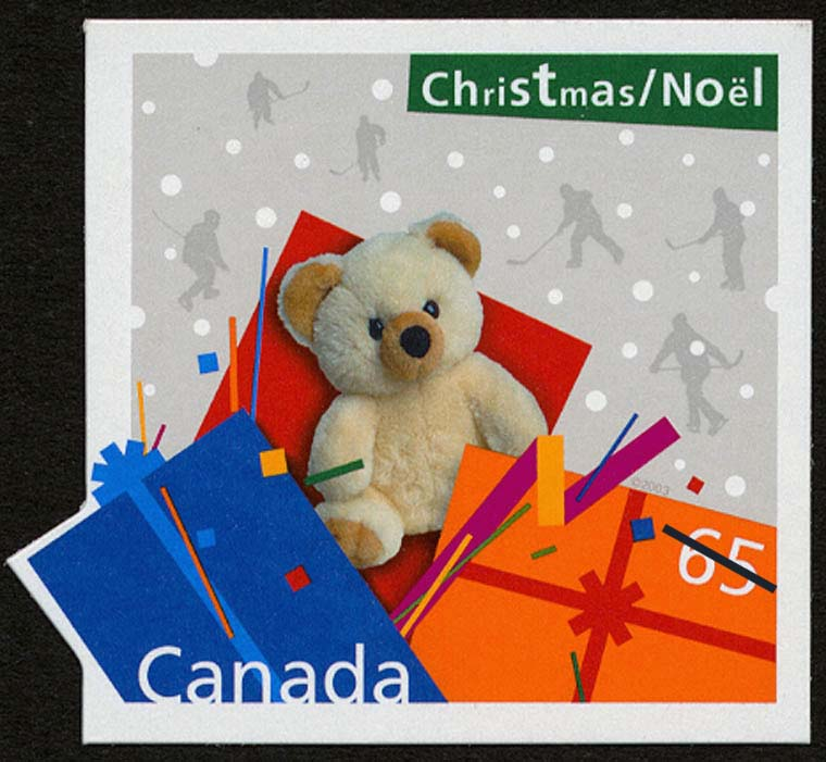 Teddy Bear - Christmas Present Canada Postage Stamp