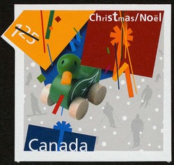 Wooden Duck Pull Toy - Christmas Present Canada Postage Stamp   Christmas Presents