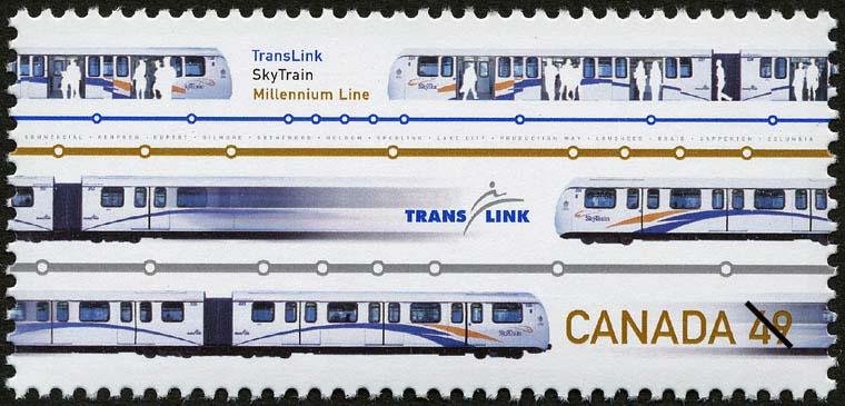 TransLink, SkyTrain, Millennium Line Canada Postage Stamp