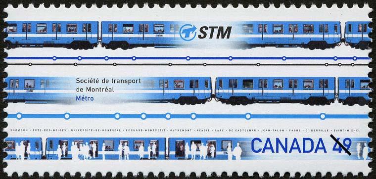 Societe de transport de Montreal, Metro Canada Postage Stamp | Urban Transit, Light Rail