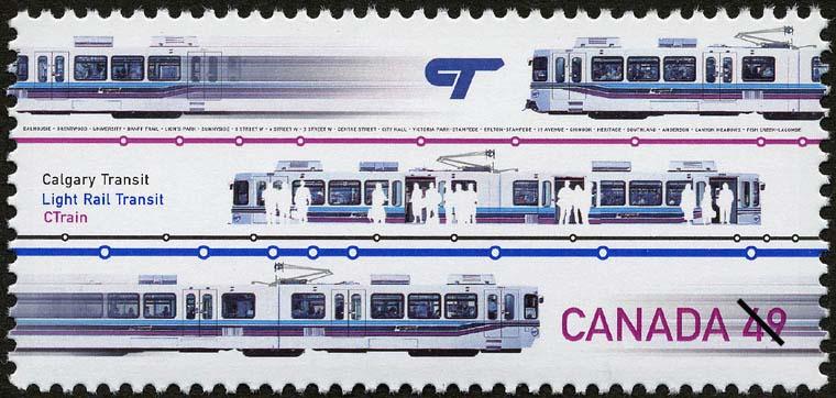 Calgary Transit, Light Rail Transit, CTrain Canada Postage Stamp | Urban Transit, Light Rail