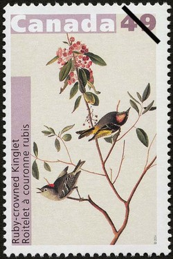 Ruby-crowned Kinglet Canada Postage Stamp | John James Audubon's Birds