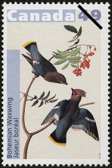 Bohemian Waxwing Canada Postage Stamp