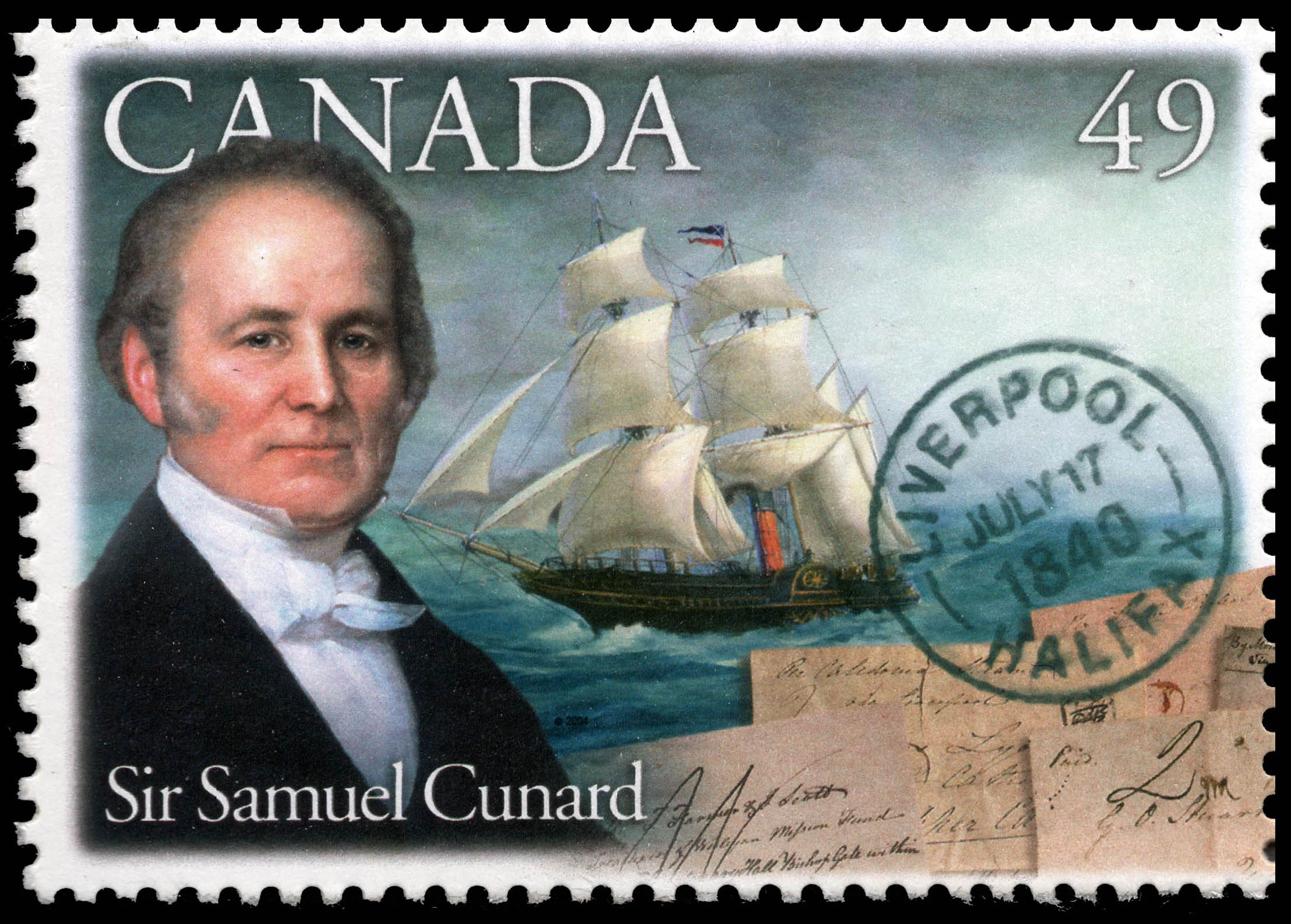 Sir Samuel Cunard Canada Postage Stamp | Pioneers of Transatlantic Mail Service