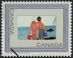 Children at the Beach - Silver Frame Canada Postage Stamp | Write Me ... Ring Me