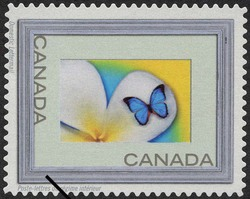 Butterfly - Silver Frame Canada Postage Stamp | Write Me ... Ring Me