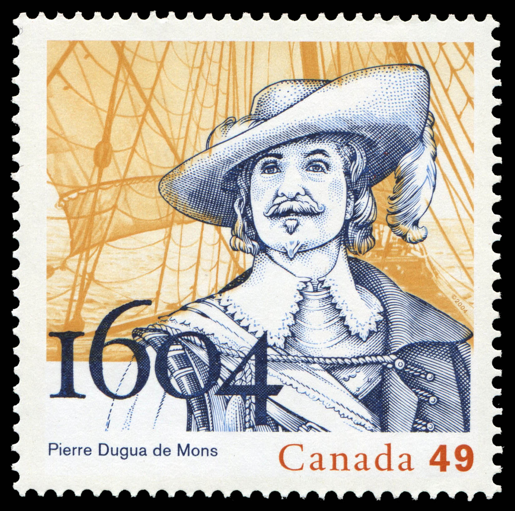 Pierre Dugua de Mons, 1604 Canada Postage Stamp | French settlements in North America