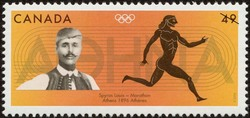 Spyros Louis, Marathon, Athens, 1896 Canada Postage Stamp   2004 Olympic Summer Games