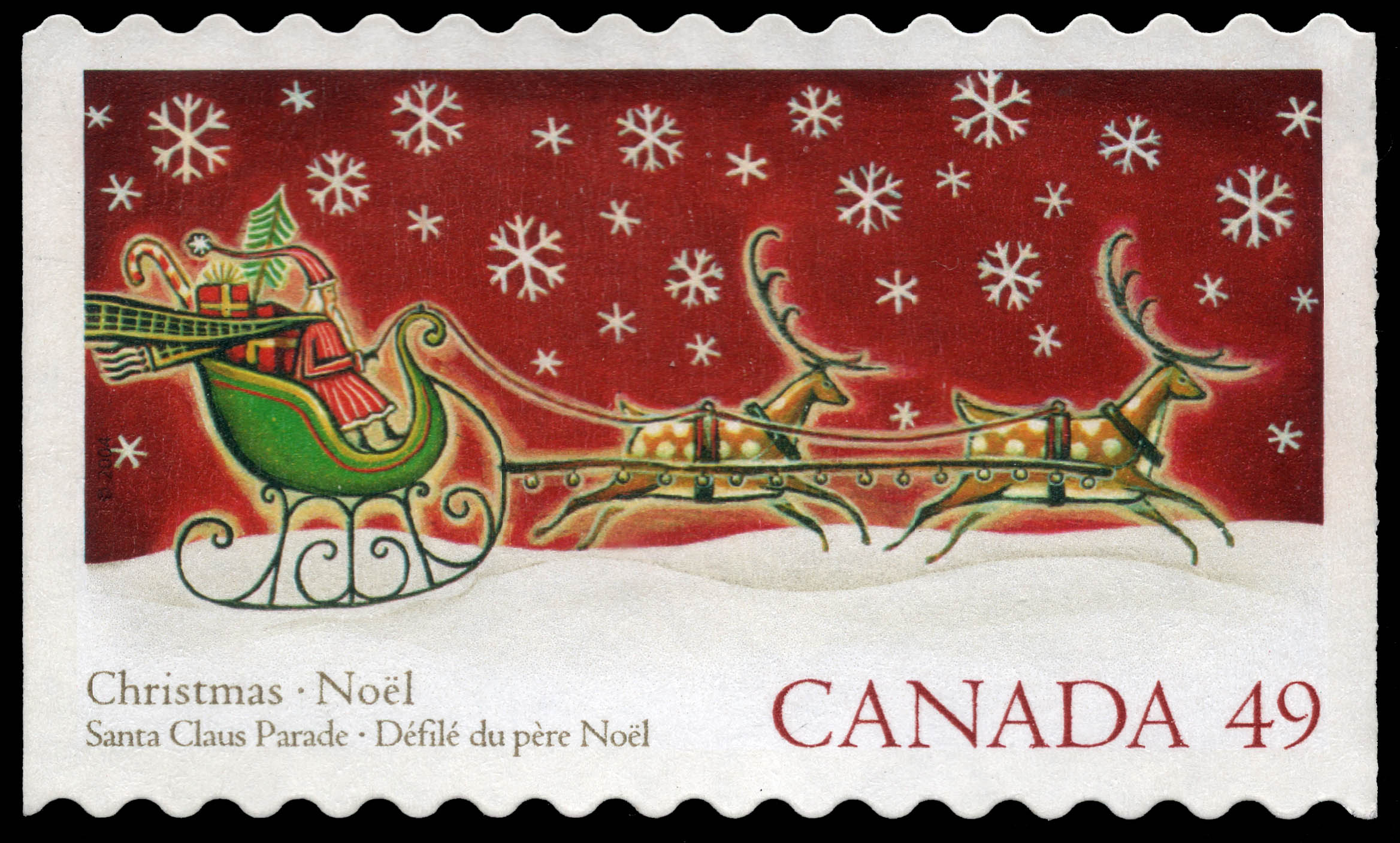 Santa Claus in a Sled Canada Postage Stamp | Christmas : Santa Claus parade