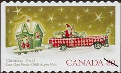 Santa Claus in a Cadillac Canada Postage Stamp | Christmas : Santa Claus parade
