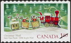 Santa Claus in a Train Canada Postage Stamp | Christmas : Santa Claus parade