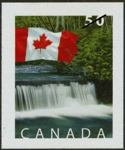 Below Shannon Falls, near Squamish, British Columbia Canada Postage Stamp | Flag