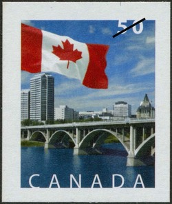 Broadway Bridge, Saskatoon, Saskatchewan Canada Postage Stamp | Flag