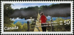 Souris Swinging Bridge, Manitoba Canada Postage Stamp | Bridges