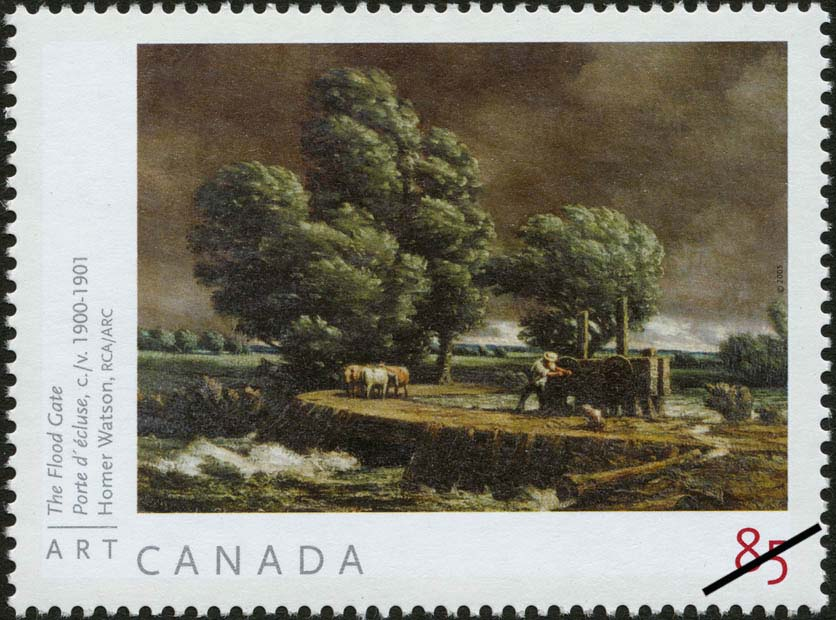 The Flood Gate, circa 1900-1901, Homer Watson, RCA Canada Postage Stamp | Art Canada