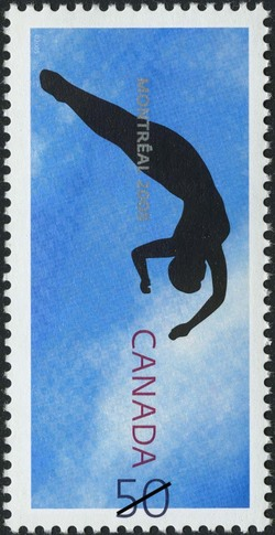 Diver spinning in mid-air, Montreal 2005 Canada Postage Stamp | XI FINA World Championships