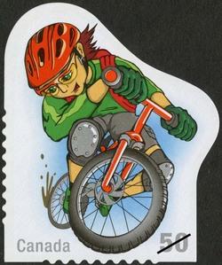 Mountain biking Canada Postage Stamp | Youth Sports