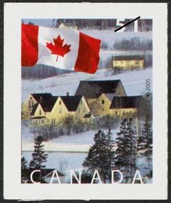 A winter scene near New Glasgow, Prince Edward Island Canada Postage Stamp | Flag