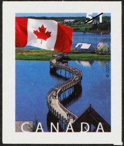 The Bridge at Bouctouche, New Brunswick Canada Postage Stamp | Flag
