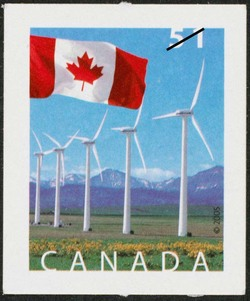 Wind turbines at Picher Creek, Alberta Canada Postage Stamp | Flag