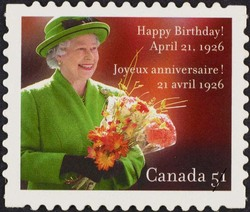 Queen Elizabeth II - Happy Birthday Canada Postage Stamp