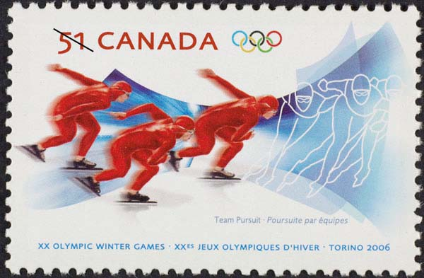 Team pursuit Canada Postage Stamp | XX Olympic Winter Games, Torino 2006