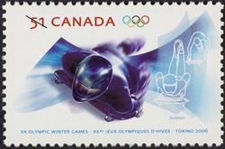 Skeleton Canada Postage Stamp | XX Olympic Winter Games, Torino 2006
