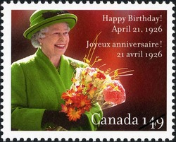 Queen Elizabeth II - Happy birthday! Canada Postage Stamp