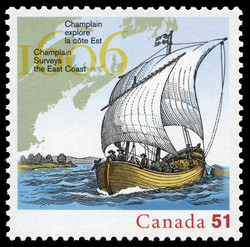 Champlain surveys the East Coast - 1606 Canada Postage Stamp   French settlements in North America