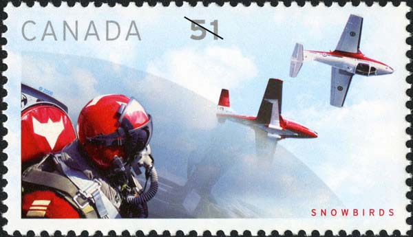 Pilot and two planes Canada Postage Stamp