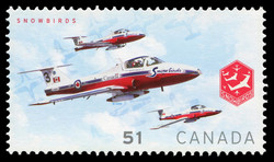 Three planes in front of a nine-plane formation Canada Postage Stamp | Snowbirds