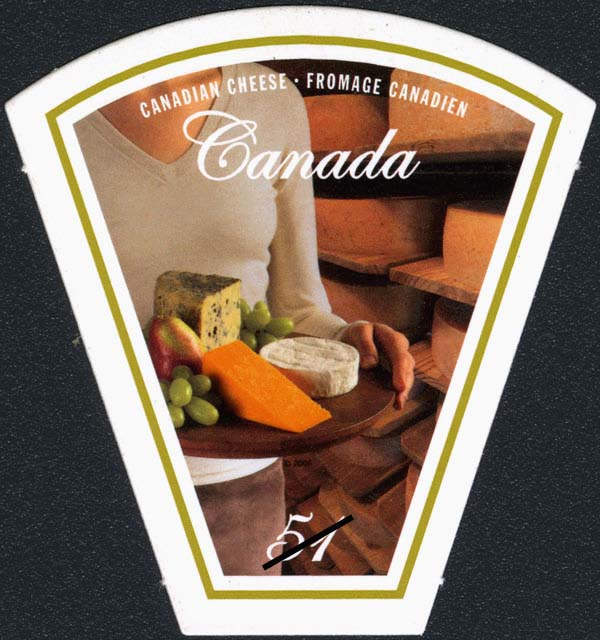 Platter of cheese being served at a fromagerie Canada Postage Stamp | Wine and cheese