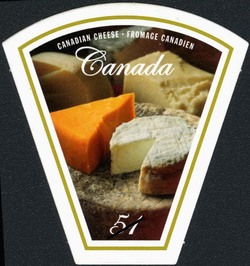 Canadian cheese products Canada Postage Stamp | Wine and cheese
