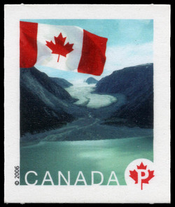 Ice fields and fjord in Sirmilik National Park, Nunavut Canada Postage Stamp | Flag