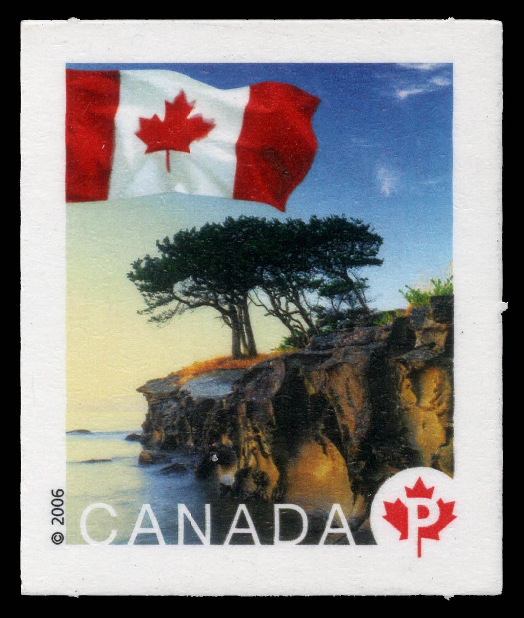 A coastline view in Chemainus, British Columbia Canada Postage Stamp   Flag
