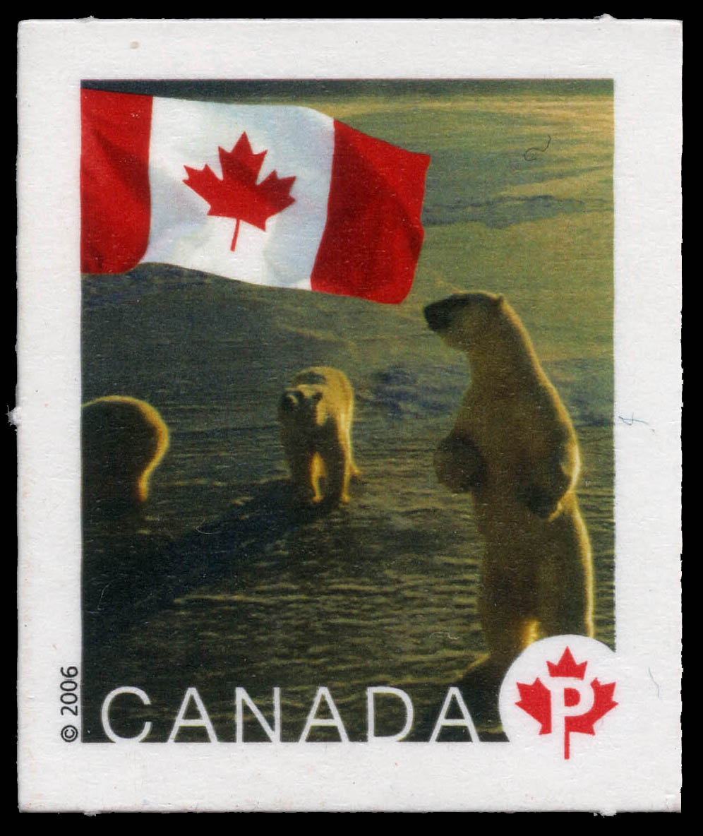 Polar bears near the Arctic Circle in Churchill, Manitoba Canada Postage Stamp   Flag
