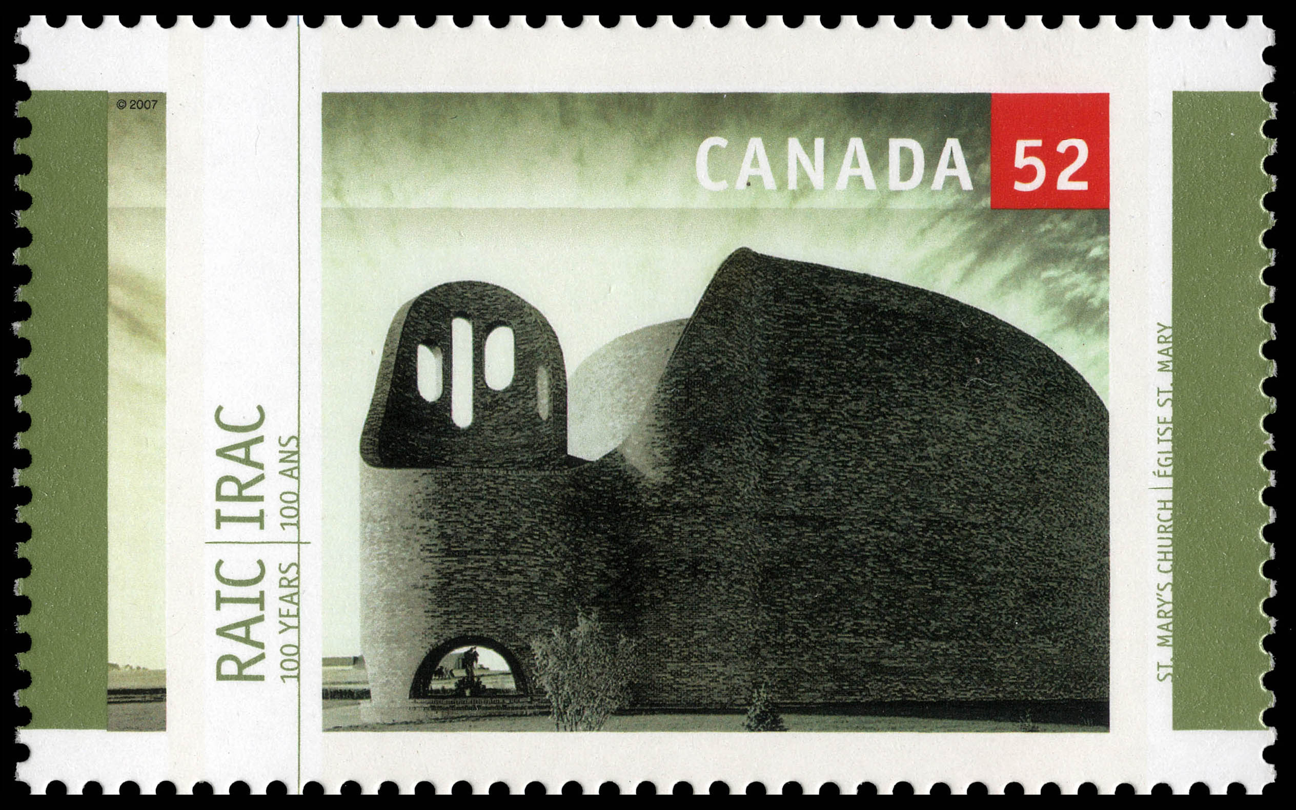 St. Mary's Church Canada Postage Stamp   Royal Architectural Institute of Canada, 100 Years