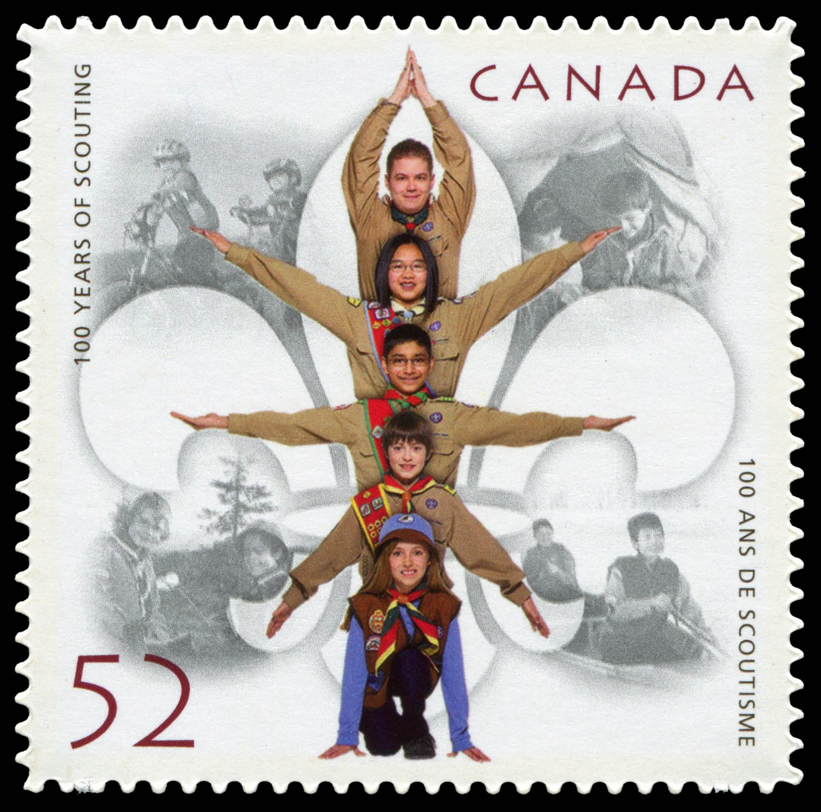 100 years of Scouting Canada Postage Stamp