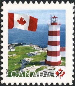 Sambro Island, Nova Scotia Canada Postage Stamp | Flag, Lighthouses