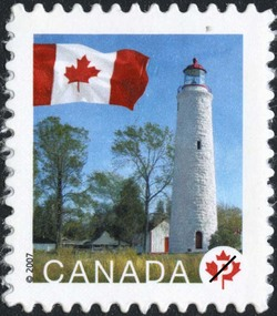 Point Clark, Ontario Canada Postage Stamp | Flag, Lighthouses