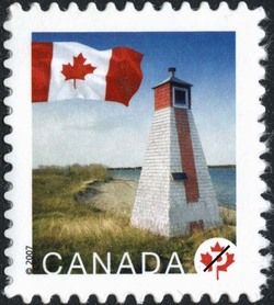 Warren Landing, Manitoba Canada Postage Stamp | Flag, Lighthouses