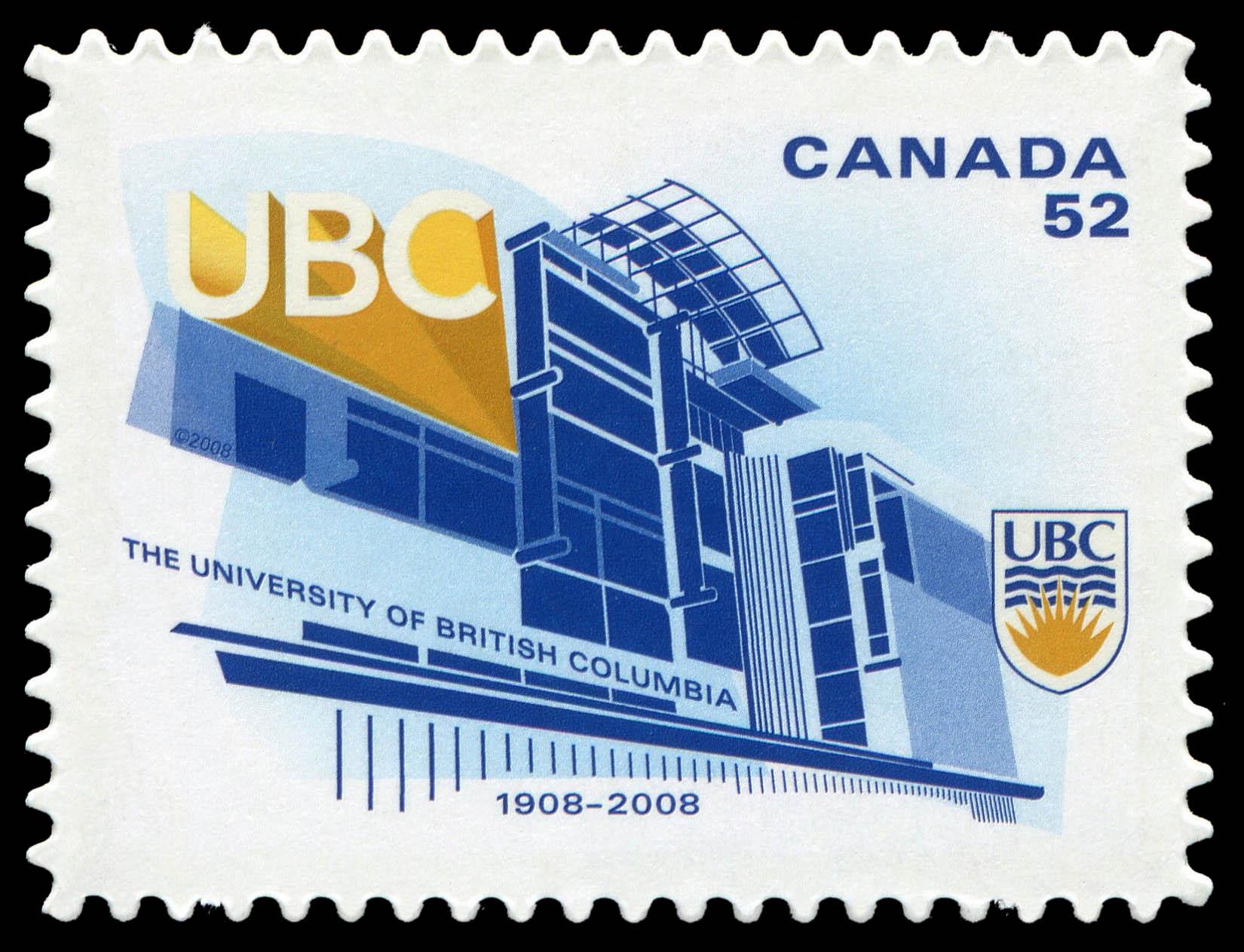 The University of British Columbia - 1908-2008 Canada Postage Stamp   Canadian Universities
